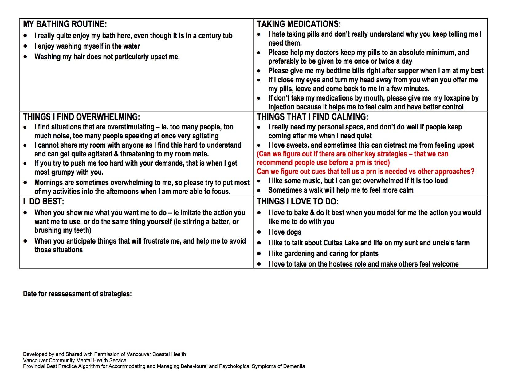 Part 1 Care Planning Evaluation